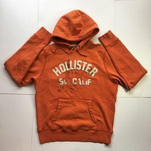 Hollister Men's Orange Pullover Sweatshirt (Large)